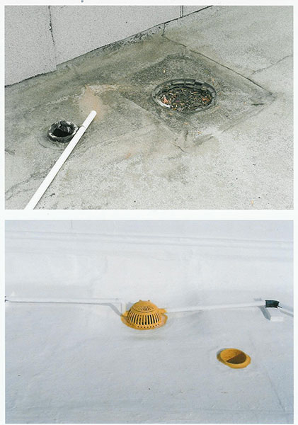 Capsheet Drain before and after