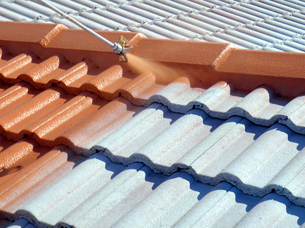 spray application on tile roof