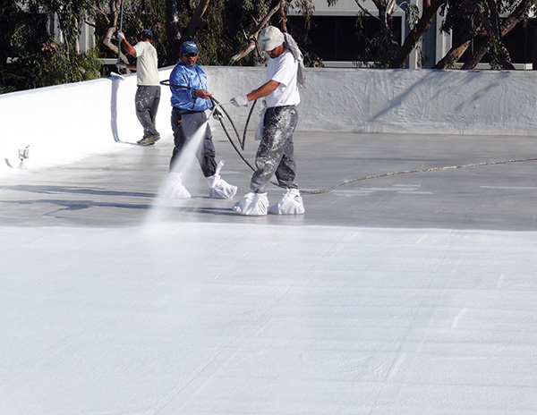 workers applying spray coating