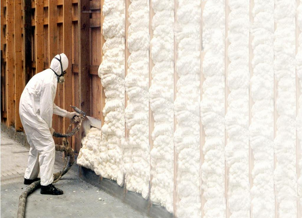 spray foam being applied